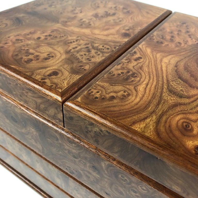 Agresti Gentleman's Watch/ Jewlery Cabinet in Elm Briar For Sale 3