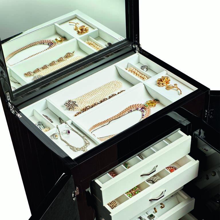 Agresti Gioia Artico Contemporary Armored Jewelry Armoire Safe in White Maple  For Sale 6
