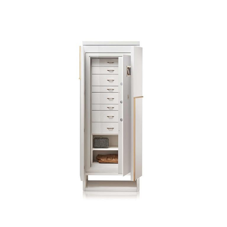 Modern Agresti Gioia Artico Contemporary Armored Jewelry Armoire Safe in White Maple  For Sale