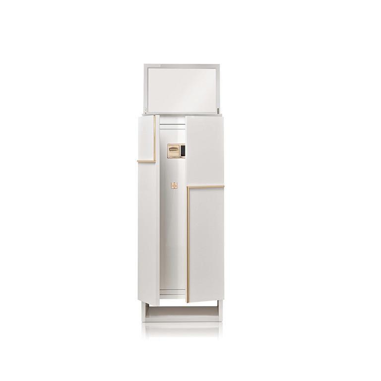 Italian Agresti Gioia Artico Contemporary Armored Jewelry Armoire Safe in White Maple  For Sale