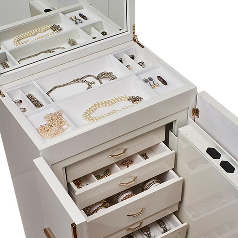 Agresti Gioia Artico Contemporary Armored Jewelry Armoire Safe in White Maple  In New Condition For Sale In New York, NY