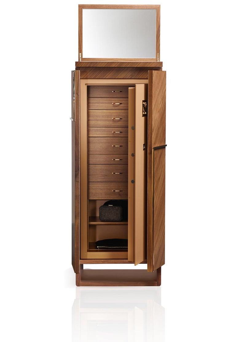 Agresti Gioia Noce Armored Armoire in Canaletto Walnut In New Condition For Sale In New York, NY