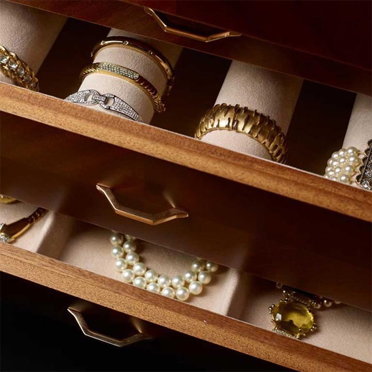 Agresti Gioia Noce Contemporary Armored Jewelry Armoire Safe in Canaletto Walnut For Sale 1
