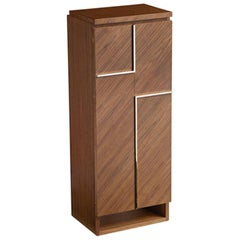 Agresti Gioia Noce Contemporary Armored Jewelry Armoire Safe in Canaletto Walnut