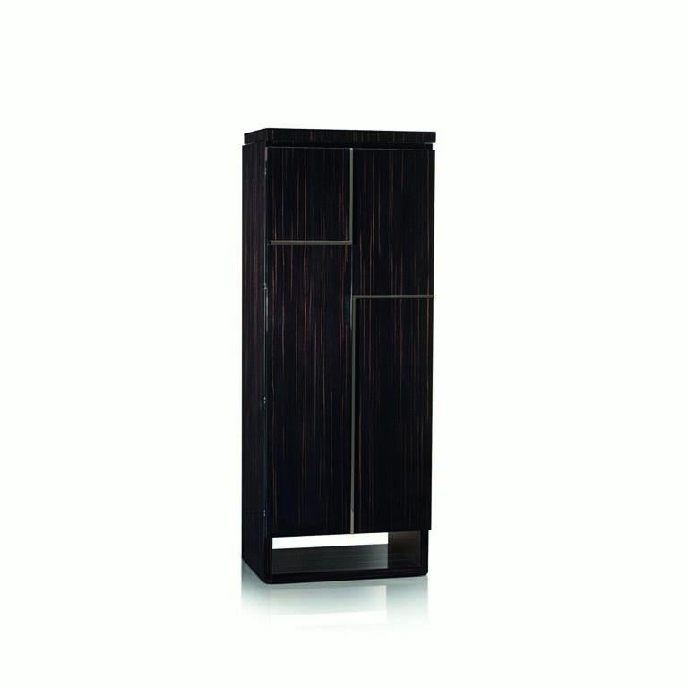 Modern Agresti Gioia Rutenio Contemporary Armored Jewelry Armoire Safe in Ebony  For Sale