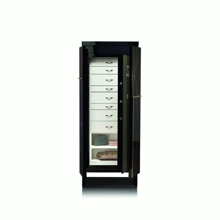 Agresti Gioia Rutenio Contemporary Armored Jewelry Armoire Safe in Ebony  In New Condition For Sale In New York, NY