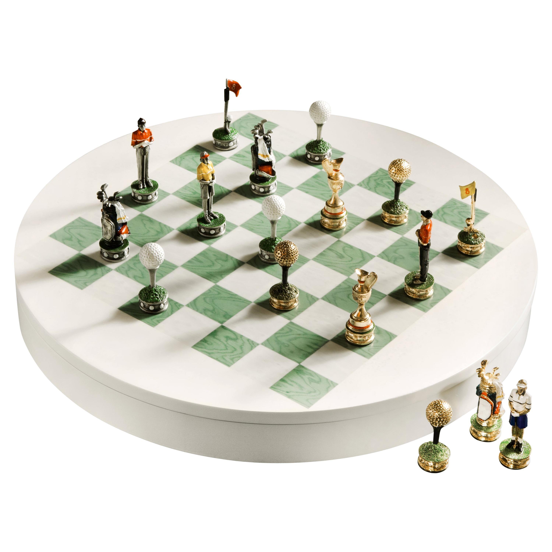 Agresti Wood Marble Golf Club Chess Set