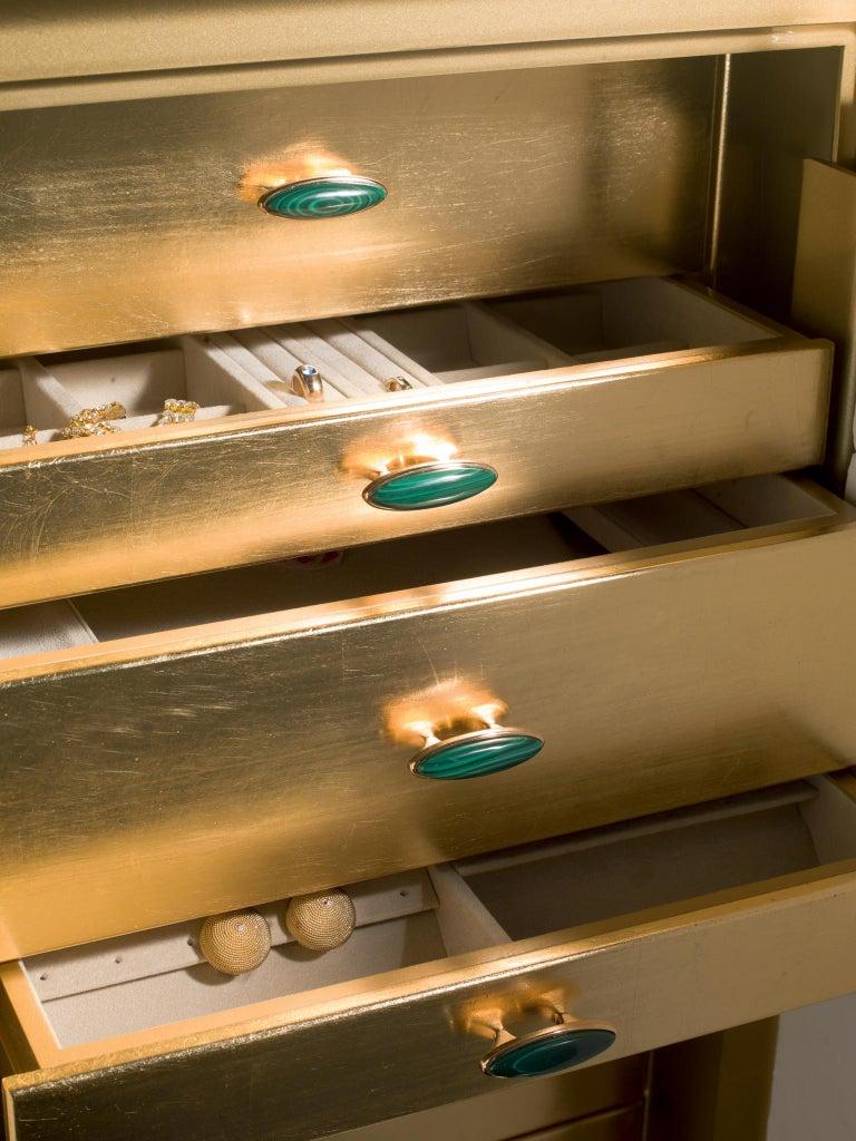 Italian Agresti La Dama Oro Armored Jewelry Armoire Gold and Malachite Finish For Sale