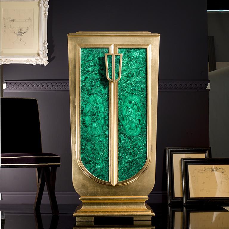 Modern Agresti La Dama Oro Armored Jewelry Armoire Gold and Malachite Finish For Sale