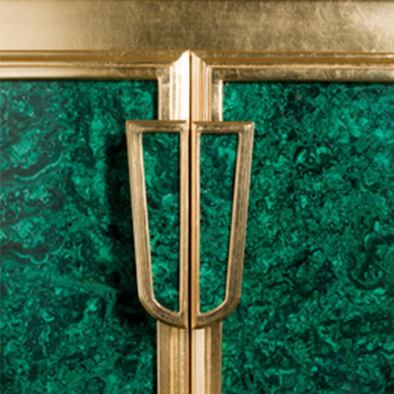 Gold Leaf Agresti La Dama Oro Armored Jewelry Armoire Gold and Malachite Finish For Sale