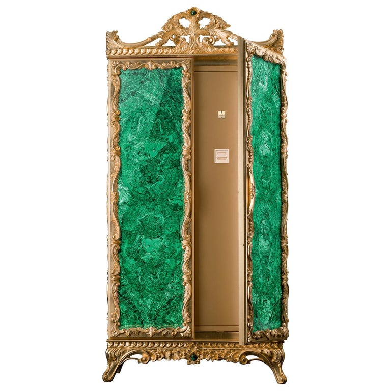 For Sale: Green (Malachite) Agresti La Grande Fortezza Armored Jewelry Armoire