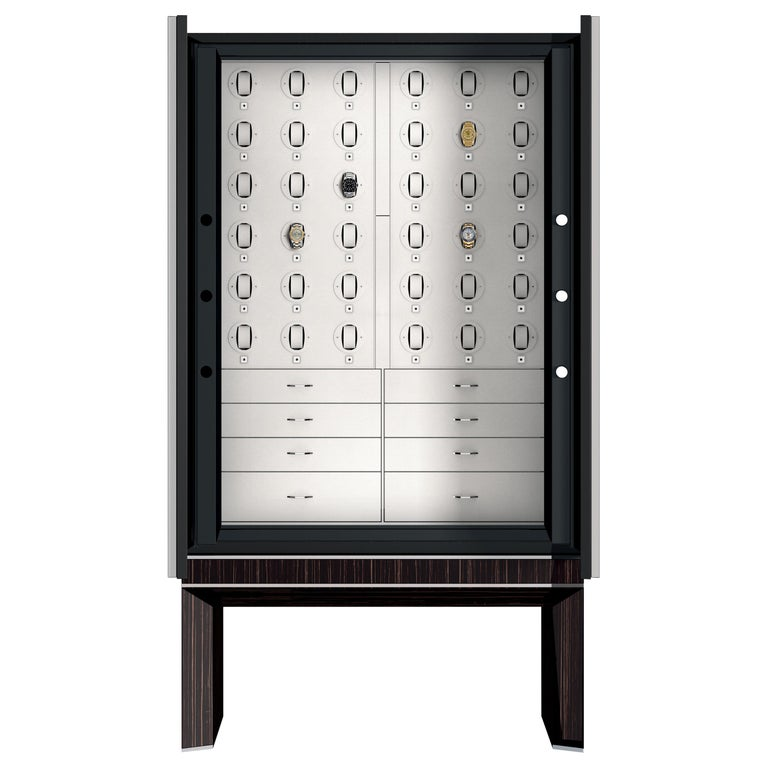 Agresti Solo Lui Black Armoire with 36 Watch Winders For Sale