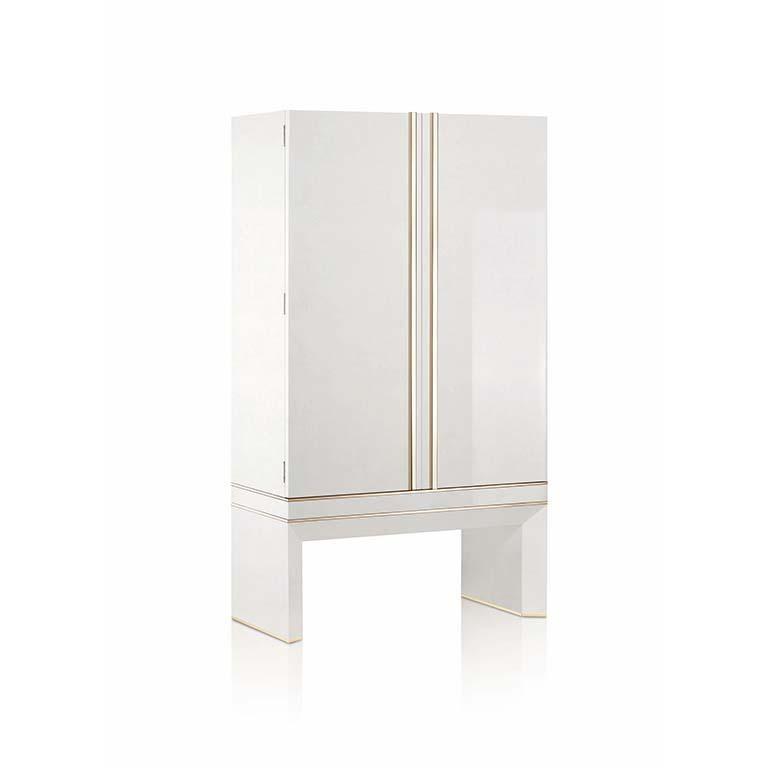 Modern Agresti White Lei Lui Armoire in Birdseye Maple  For Sale
