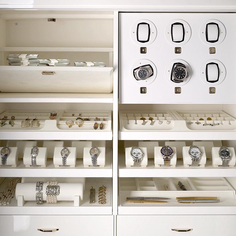 Agresti White Lei Lui Armoire in Birdseye Maple  In New Condition For Sale In New York, NY