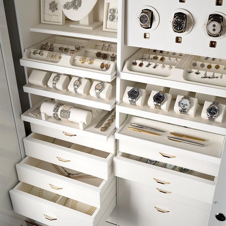 Contemporary Agresti White Lei Lui Armoire in Birdseye Maple  For Sale
