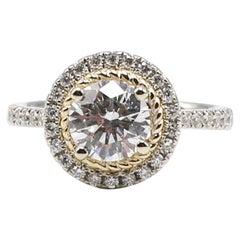 AGS Certified 1.23 Carat Round Brilliant Diamond 14 Karat Halo Engagement Ring