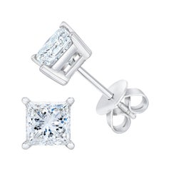 AGS Certified 14k White Gold 1/4 cttw Princess-Cut Solitaire Diamond Stud