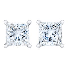AGS Certified 14K White Gold 1.0 Cttw Princess-Cut Solitaire Diamond Earrings