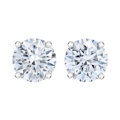 AGS Certified 14k White Gold 1.0 Ctw Brilliant Round-Cut Diamond Stud Earrings