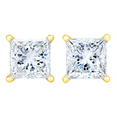 AGS Certified 14K Yellow Gold 1/4 cttw Princess-Cut Solitaire Diamond Earrings