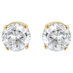 AGS Certified 14K Yellow Gold 3/8 Carat Round Solitaire Diamond Stud Earrings