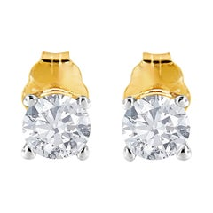 AGS Certified 14K Yellow Gold 3/8 Cttw Round Solitaire Diamond Stud Earrings