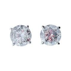 AGS Certified 2.91 Carat Total Diamond Stud Earrings in 14 Karat White Gold