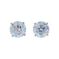 AGS Certified 5.12 Carat Total Diamond Stud Earrings in 14 Karat White Gold