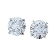 AGS Certified 6.54 Carat Total Diamond Stud Earrings in 14 Karat White Gold