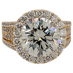 AGS Certified Natural Diamond 5.11 Carat K SI2 Gold Engagement Cocktail Ring