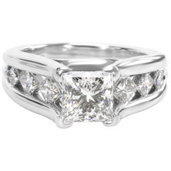 AGS Certified Princess Diamond Engagement Ring in Platinum G Vs2, 2.37 Carat
