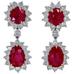 AGTA Certified Ruby and Diamond Platinum Earrings