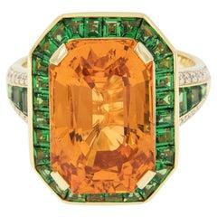 AGTA Spectrum Award Entrant 18KYG Spessartine Garnet Tsavorite and Diamond Ring