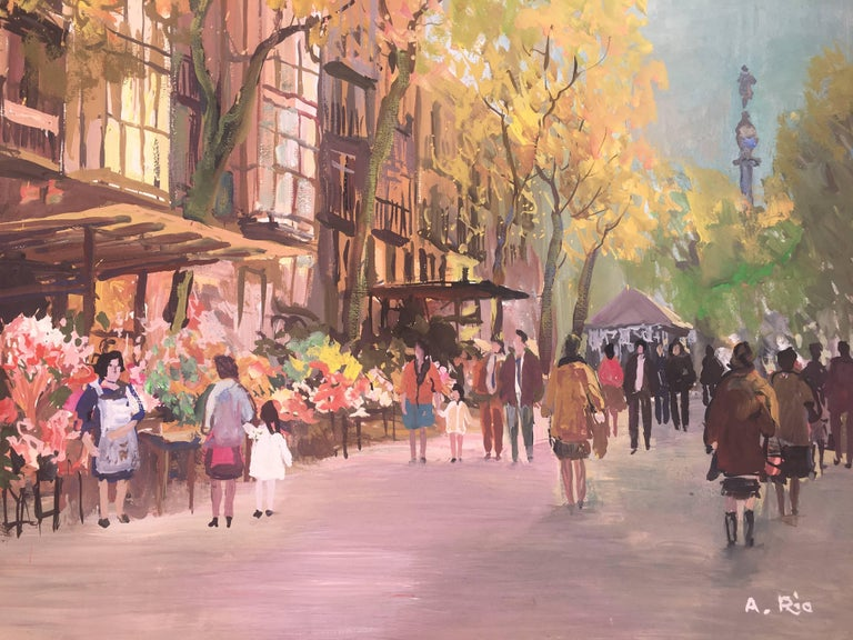 Barcelona .Original gouache paper painting - Painting by Agustin Rio