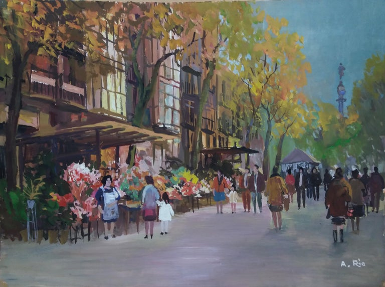 Barcelona .Original gouache paper painting - Brown Figurative Painting by Agustin Rio