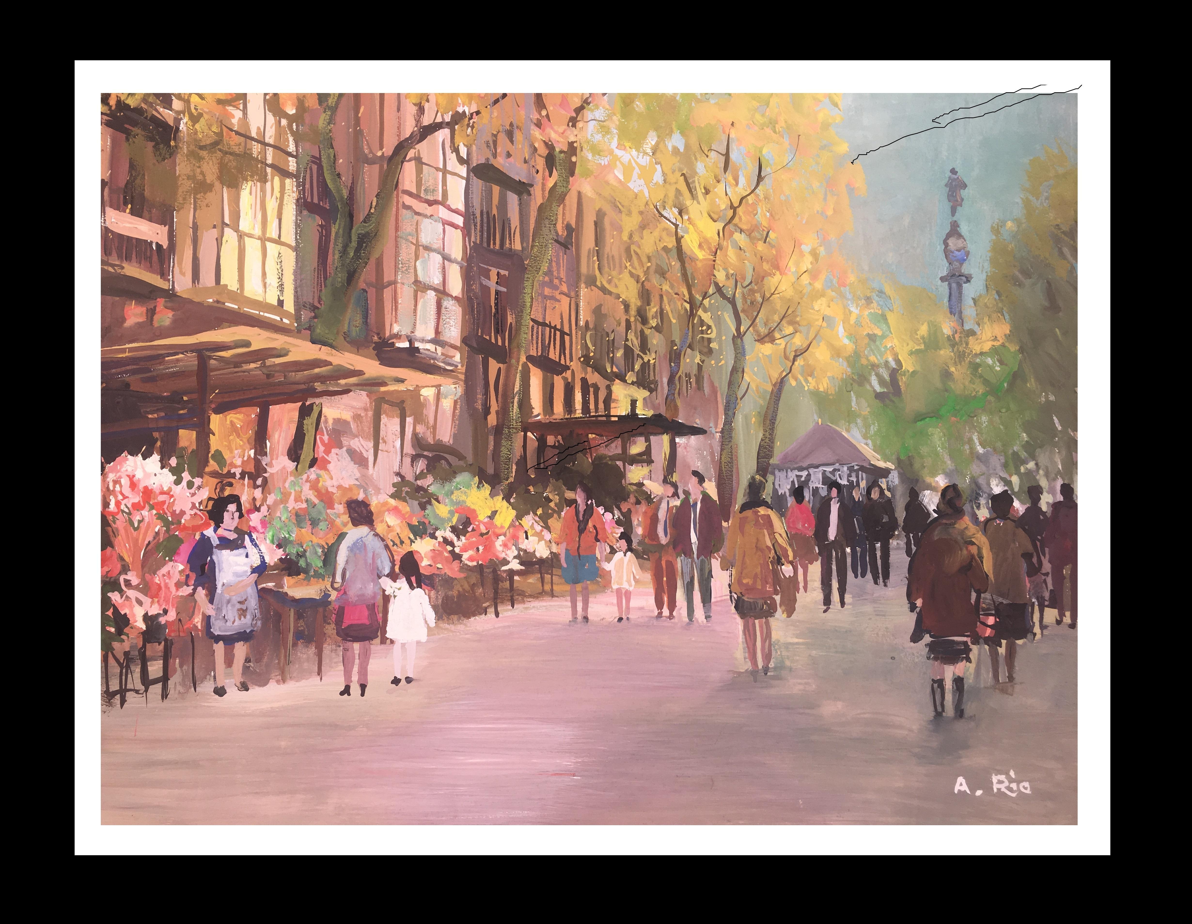 Barcelona .Original gouache paper painting