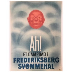 'Ah! Et Dampbad i Frederiksberg Svommehal', Original Vintage Poster, circa 1936