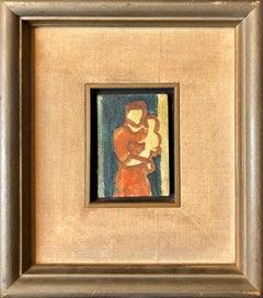Modernist Israeli Miniature Oil Painting Mother and Child Kibbutz Artist