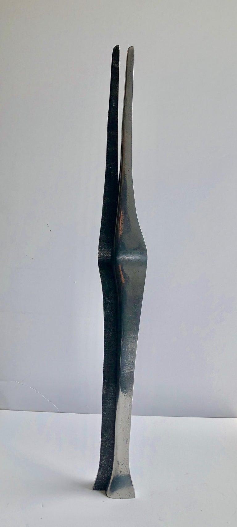 Aharon Bezalel Israeli Modernist Sculpture 2 Parts Minimalist Aluminum or Steel  For Sale 10