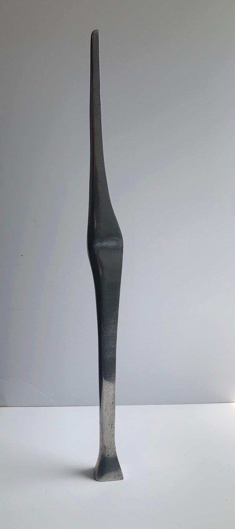 A suite of 2 sculptures. Lovers, man and woman nestled together. sleek minimalist mod sculpture. polished finish on one side. not sure if theese are stell or aluminium. they are cast and signed in Hebrew with initials and numbered 9/9. It is 2 parts