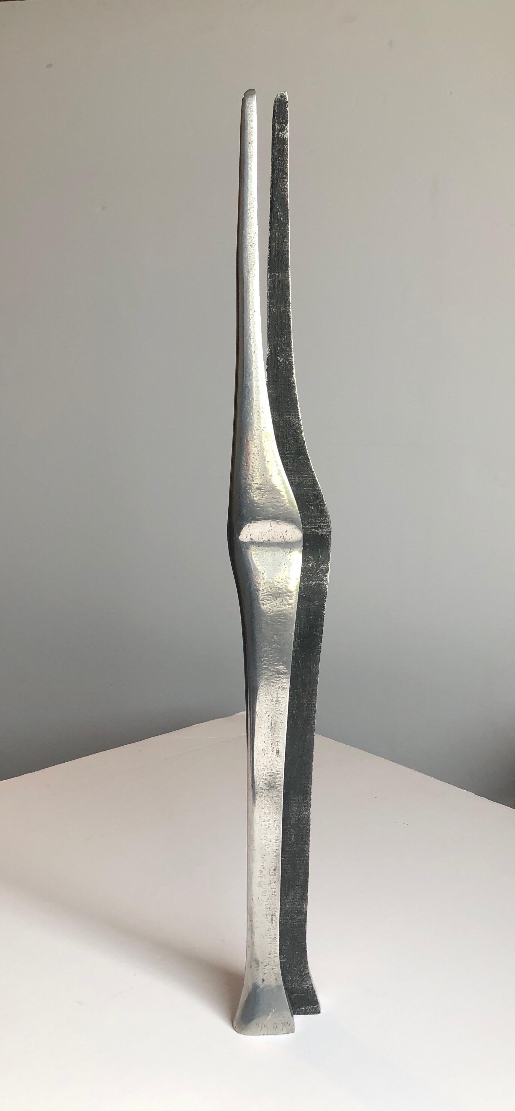 Aharon Bezalel Israeli Modernist Sculpture 2 Parts Minimalist Aluminum or Steel