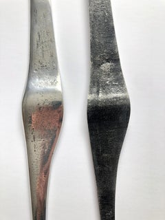 Aharon Bezalel Israeli Modernist Sculpture 2 Parts Minimalist Aluminum or Steel