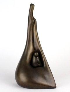 Rare AP Aharon Bezalel Israeli Modernist Mother and Child Bronze Sculpture Suite
