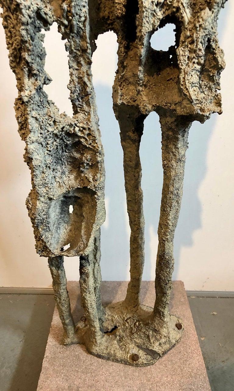 Rare Large Aharon Bezalel Israeli Modernist Unique Bronze Brutalist Sculpture  For Sale 11