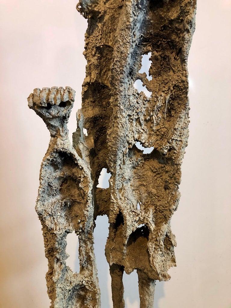 Rare Large Aharon Bezalel Israeli Modernist Unique Bronze Brutalist Sculpture  For Sale 12
