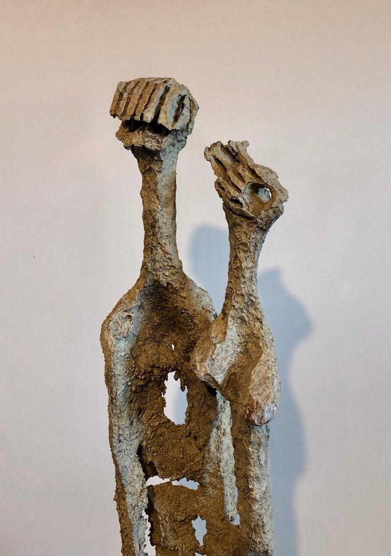 Rare Large Aharon Bezalel Israeli Modernist Unique Bronze Brutalist Sculpture  For Sale 14
