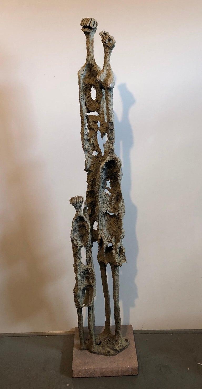 Rare Large Aharon Bezalel Israeli Modernist Unique Bronze Brutalist Sculpture  For Sale 1