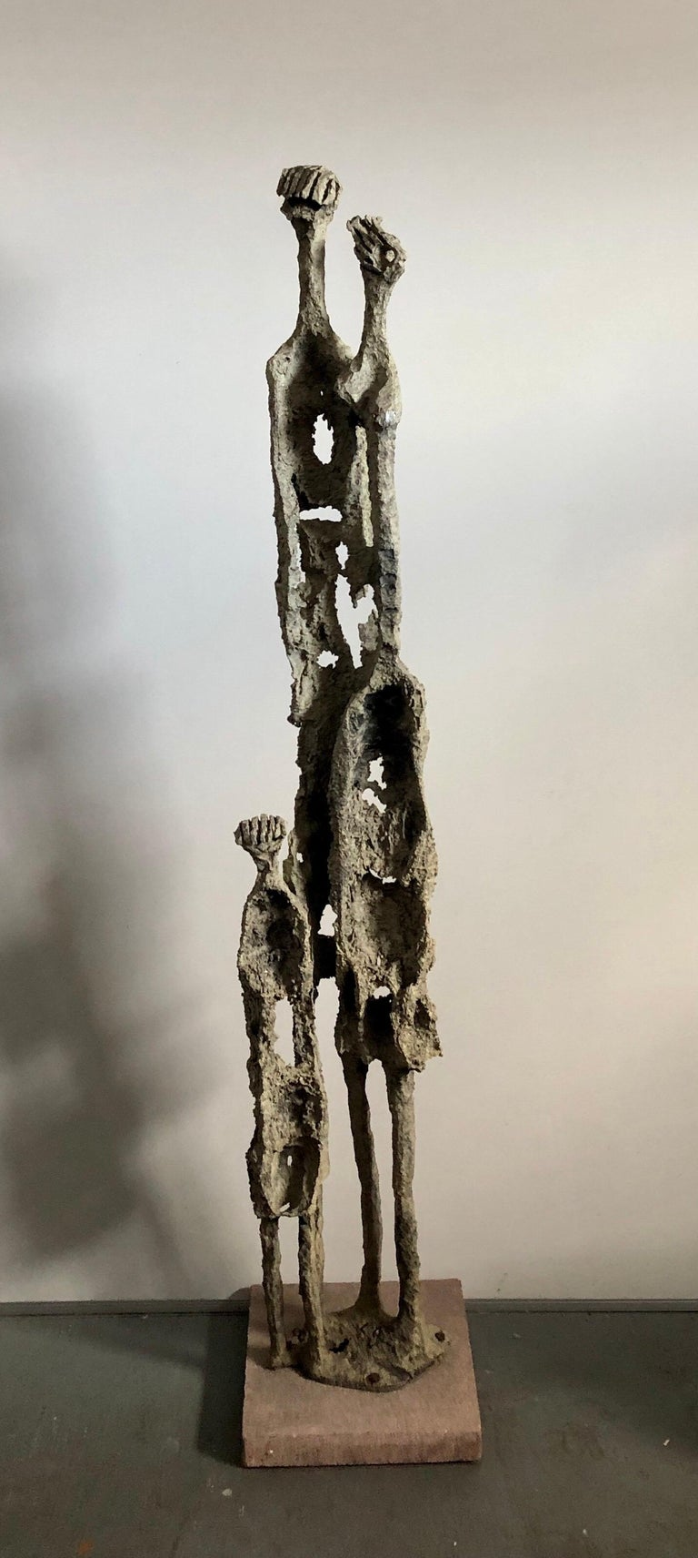 Rare Large Aharon Bezalel Israeli Modernist Unique Bronze Brutalist Sculpture  For Sale 3