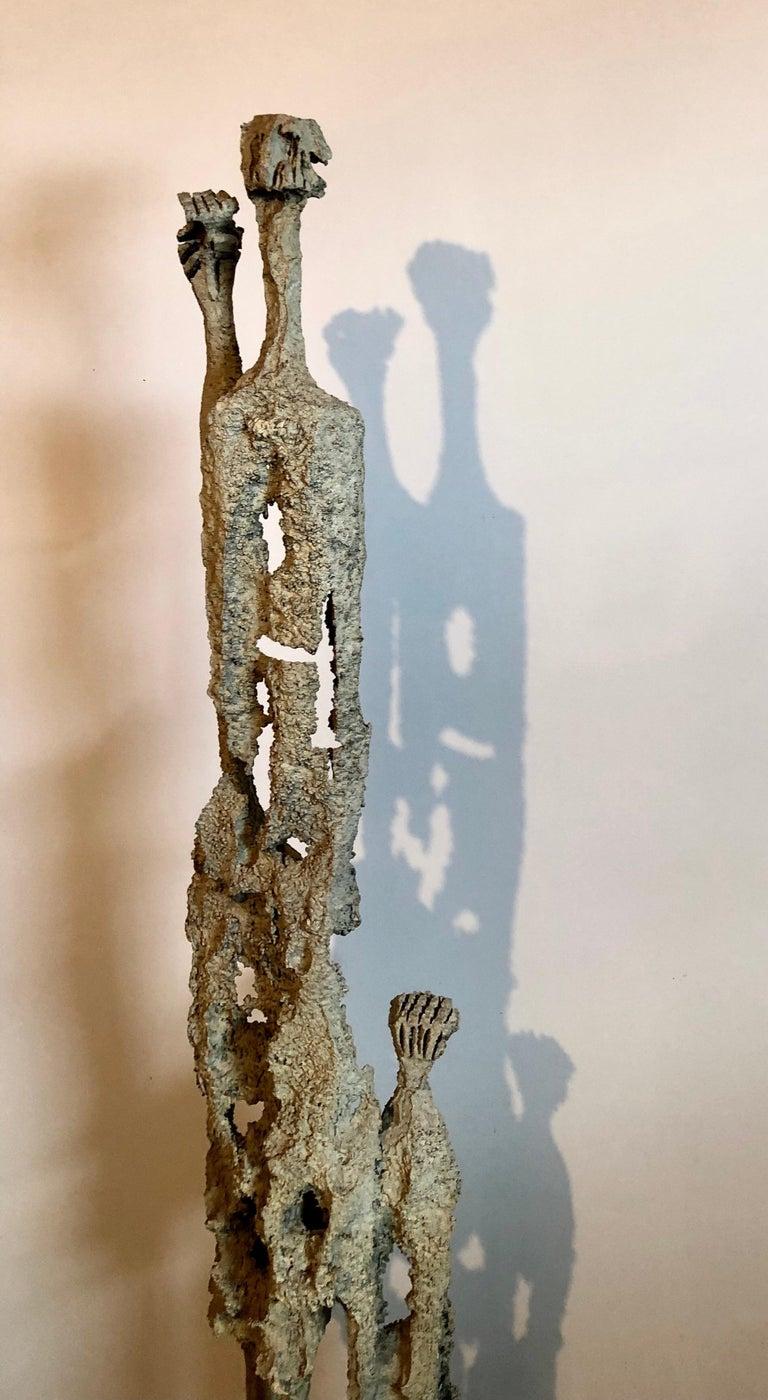 Rare Large Aharon Bezalel Israeli Modernist Unique Bronze Brutalist Sculpture  For Sale 4