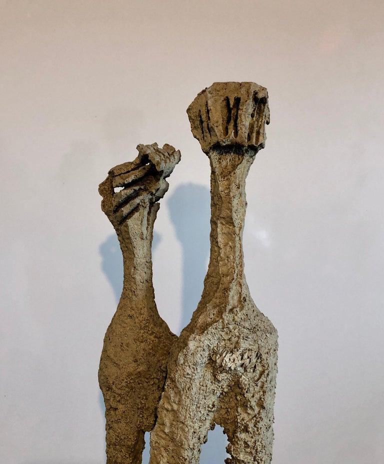 Rare Large Aharon Bezalel Israeli Modernist Unique Bronze Brutalist Sculpture  For Sale 7